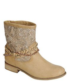 This PINKY FOOTWEAR Camel Samantha Crocheted Chain Boot by PINKY FOOTWEAR is perfect! #zulilyfinds