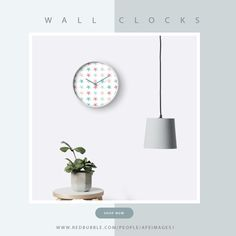 #WallClocks | Modern printed polypropylene face without plexiglass ► Bamboo wood frame with natural finish or painted black or white ► 4 customisable metal hand colours to choose from ► Quartz clock mechanism (AA battery not included) ► Built in hook at back for easy hanging