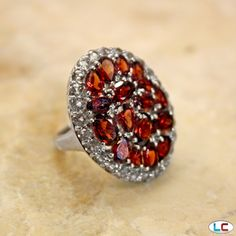 Mozambique Garnet and White Topaz Ring in Platinum Overlay Sterling Silver (Nickel Free) | Liquidation Channel