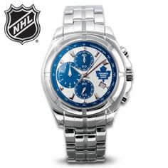 The NHL Officially Licensed Toronto Maple Leafs® Chronograph Watch Vancouver Canucks, Toronto Maple Leafs, Nhl, Omega Watch, Chronograph, Hockey, Bracelet Watch, Watches For Men, Accessories