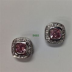 Pink Silver Bezel with Clear CZ Pave Post Earrings