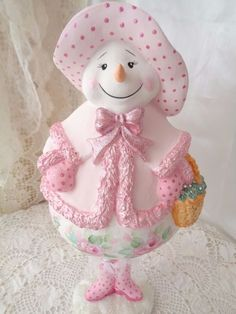 Hand Painted by sunny-sommers & avail on ebay! Ms. PINKY IS HERE! Snowman hp roses chic shabby vintage cottage hand painted