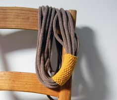 Loops neckwarmer, knit necklace, tube scarf.  Hazelnut brown and mustard yellow or choose your color. Winter accessories on Etsy, $79.58