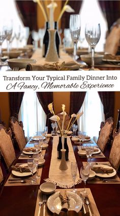 You don't need a fancy restaurant to have an elegant, candle-lit family meal – you can create the experience in your own dining room. Here's how to transform a typical family dinner into a fancy, fun event that everyone will remember for years to come. #FamilyMemories #FamilyMeals #Parenting #Dinner Centerpiece Ideas, Table Decorations, A Typical, Lamp Ideas, Family Memories, Fun Events, Healthy Living Tips, Family Meals, Tablescapes