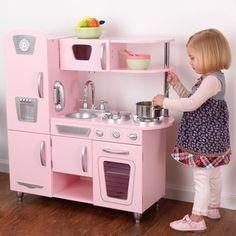 KidKraft Pink Vintage Kitchen Kids Pretend Play Set and Accessories Kids Toy Kitchen, Wooden Play Kitchen, Kitchen Sets, Kitchen Playsets, Refacing Kitchen Cabinets, Diy Cabinets, Cocina Kidkraft, Vintage Pink, Vintage Toys