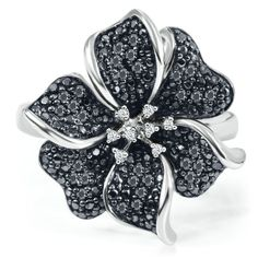 1/4 ct. tw. Black & White Diamond Flower Ring in Sterling Silver