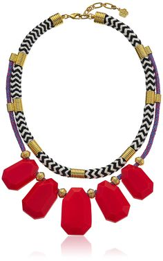 """Trina Turk """"The Visionary"""" Gold-Plated Red Resin Frontal Cord Necklace 20"""" + 2"""" Extender,Red,. Rope necklace with gold-tone stations and faceted resin beads. Lobster-claw closure. Imported."""