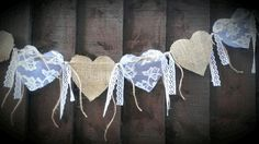 Lace & hessian heart bunting