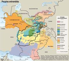 Ethnolinguistic map of Afghanistan and surrounding countries