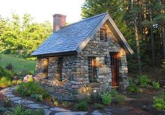 A small stone cottage modeled after Thoreau's cabin on Walden Pond. 10 x 15 ft, located in Walpole, NH, USA