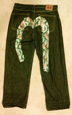 bcd419b17c78 Evisu Mens Embellished Dark Jeans No. 2 Size 40 Button Up Fly Baggy Loose