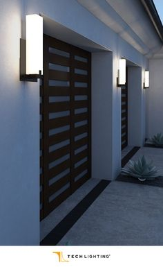 Tech Lighting's Cosmo outdoor wall lights provides efficient ambient and up-light in a modern form. | Del Mar Fans & Lighting