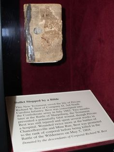 This Bible saved the life of a Confederate soldier during the Battle of Sharpsburg when it stopped a bullet from fatally wounding its owner. See it in person at the National Museum of the Civil War Soldier at Pamplin Historical Park in Petersburg, VA.  http://www.pamplinpark.org/national_museum.html  #civilwar #rva #history #Richmond #Petersburg #museum