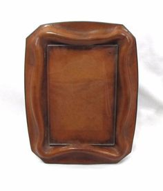 "Gorgeous Vintage Molded Leather & Glass Picture Photo Easel Frame Italy 4"" x 6"""
