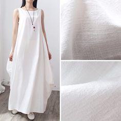 Gorgeous Retro Cotton Linen Loose White Women Dress 7480e9e8d