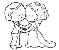 Ausmalbild Hochzeit und Liebe: Verliebtes Brautpaar kostenlos ausdrucken