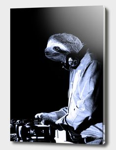 Discover «DJ Sloth», Exclusive Edition Acrylic Glass Print by Luigi Tarini - From $69 - Curioos