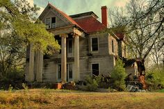 Abandoned Plantations in the South | elmodel-ga-baker-county-abandoned-mansion-falling-corinthian-columns ...