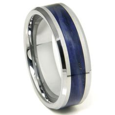 Beautiful Tungsten with Royal Blue Riverstone. He's going to love this!!!