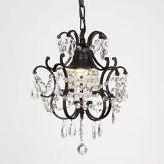Small Crystal Chandelier Iron Antique Ceiling Light Lighting Mini Candle Black…