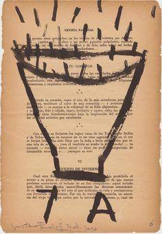 """""""Cuaderno de fin de año"""" /31 de dic. 2010 gustavo fernÁndez/tinta china sobre hoja de viejo libro."""