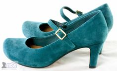 CLARKS SOFTWEAR Anika Kendra Teal Wide Fit Suede Platform Mary Janes Shoes UK 6