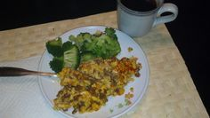 Day 7 breakfast: chorizo & egg, broccoli & black coffee