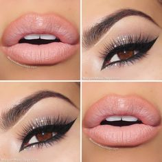 Nude Eye Makeup with Slight Glitter - Winged Cat Eyeliner - Lashes - Light Pink Lips - Brows