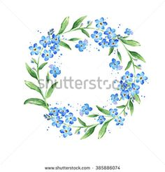 Floral Forget-me-not flower round frame, watercolor illustration with copy space