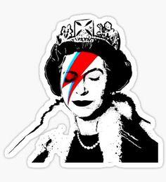 Banksy Graffiti, Tumblr Stickers, Funny Stickers, Custom Stickers, Queen David Bowie, Queen Poster, Ziggy Stardust, Laptop Stickers, Artwork Design