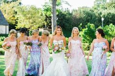 PPS Couture from Plum Pretty Sugar features floral prints in stunning silk chiffon. Linda and her bridesmaids are truly stunning in this new ethereal collection. www.PPSCouture.com.
