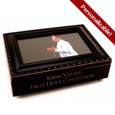 "First Communion Frame Box for Boys. Stylish black with bronzy-gold trim and engraving. Great place to keep First Communion lapel pin and rosary. Plays the ""Hallelujah"" chorus, $48.95. #CatholicCompany"