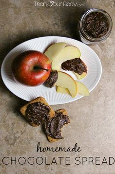 This rich, thick chocolate spread can be made nut free! Free if refined sugar and allergy friendly.
