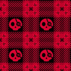fabric, upholstery, patterns, quilting fabric, wallpaper, wrapping paper - Pirate Skulls Plaid 112 Black Red fabric by wickedrefined on Spoonflower