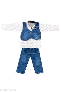 Checkout this latest Clothing Set Product Name: *Princess Stylus Boys Top & Bottom Sets* Top Fabric: Cotton Blend Bottom Fabric: Denim Sleeve Length: Long Sleeves Top Pattern: Self Design Bottom Pattern: Self Design Multipack: Single Add-Ons: Waistcoat Sizes: 1-2 Years (Top Chest Size: 10.5 in, Top Length Size: 11 in, Bottom Waist Size: 21 in, Bottom Length Size: 15 in)  Country of Origin: India Easy Returns Available In Case Of Any Issue   Catalog Rating: ★4 (294)  Catalog Name: Cutiepie Stylus Boys Top & Bottom Sets CatalogID_2696663 C59-SC1182 Code: 912-13686770-354