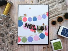 "It's Samantha – back sharing a card (a few actually) that I created after seeing IRS design team member Mary share her scrapbook layout ""YAY – which you… Youre Crazy, Block Party, Outline, Stamps, Mary, Scrapbook, Ink, Inspired, Create"