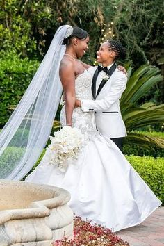 Romantic lesbian wedding photo - This Luxe Los Angeles Wedding Features an Amazing Budget-Saving Idea - Love Inc. Mag - THE I DO PHOTOGRAPHY Lesbian Wedding Photos, Romantic Wedding Photos, Trumpet Gown, White Orchids, Walking Down The Aisle, Saving Ideas, Tiered Cakes, Equality, Love Story