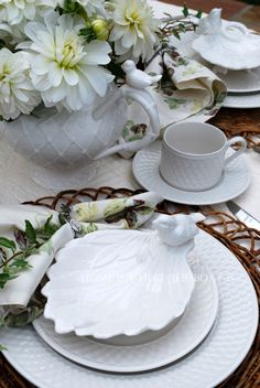 Nesting Instincts Tablescape and Gracie China Victorian Bird tea pots | Home is Where the Boat Is