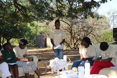 Tracey reads her Pafuri Trails inspired poem Nature's Sounds to her fellow CITW campers