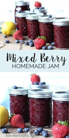 This Homemade Mixed Berry Jam Recipe Is So Delicious Youll Want To Put It On Everything From Pancakes And Toast To Waffles And Ice Cream. Or on the other hand Eat It Right Out Of The Jar Low Sugar Homemade Jelly, Jam And Jelly, Jelly Recipes, Empanada, Canning Recipes, Freezer Jam Recipes, Easy Jam Recipes, Homemade Jam Recipes, Canning Tips