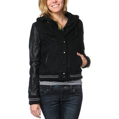Sporting The Varsity wool and faux leather jacket is a definite must this season. The girls Obey jacket will make the perfect addition to any girl's wardrobe. The Varsity features a layered look with a black fleece partial lining and built-in jersey hood. Additional style details include a full interior zipper with exterior black gloss buttons, front pockets and striped ribbed cuffs and hem. Pair with a slouchy tee, skinny jeans and colorful high tops for an all-star look. Check out more…