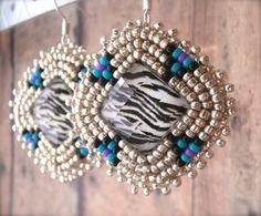 Native PopArt Silver SeedBeads Zebra Beadwork by OraLouiseJewelry, $28.00