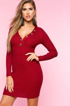 47348bc1a2 Henley Sweater Dress Ribbed Sweater