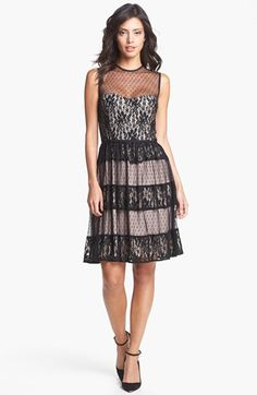 Maggy London Mixed Lace Fit & Flare Dress available at #Nordstrom