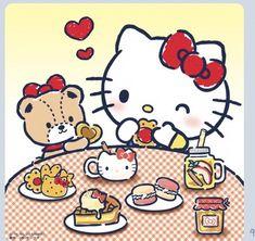 Cute Kawaii Drawings, Cute Animal Drawings, Kawaii Cute, Hello Kitty Backgrounds, Hello Kitty Wallpaper, Hello Kitty Imagenes, Kitty Cafe, Hello Kitty My Melody, Sanrio Wallpaper