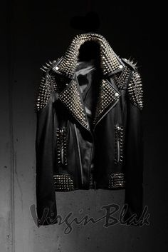 Punk Custom Spike Studded Leather Jacket By Virgin Blak Spiked Leather Jacket, Classic Leather Jacket, Studded Jacket, Lambskin Leather Jacket, Vintage Leather Jacket, Leather Men, Leather Jackets, Black Leather, Custom Leather