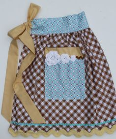 THIS!! Love the blue print with the brown check gingham. This is what I will do with my thrifted gingham.