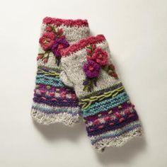 Light Gray Casual Tribal Women Knitted Gloves & Mittens – Frida K - Crochet Diy Tricot Crochet, Crochet Gloves, Freeform Crochet, Hand Crochet, Knitted Mittens Pattern, Knit Mittens, Knitting Patterns, Crochet Patterns, Fingerless Mittens