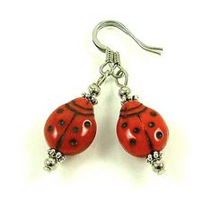 Darling Lady Bug Beaded Earrings only 5 by SylviaSwaseyDesigns, $5.00