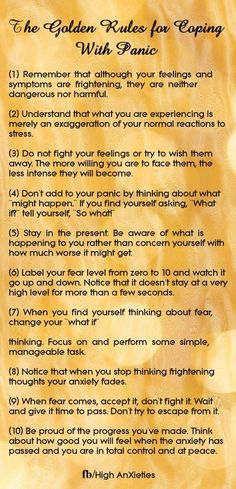 Rules for coping with panic.